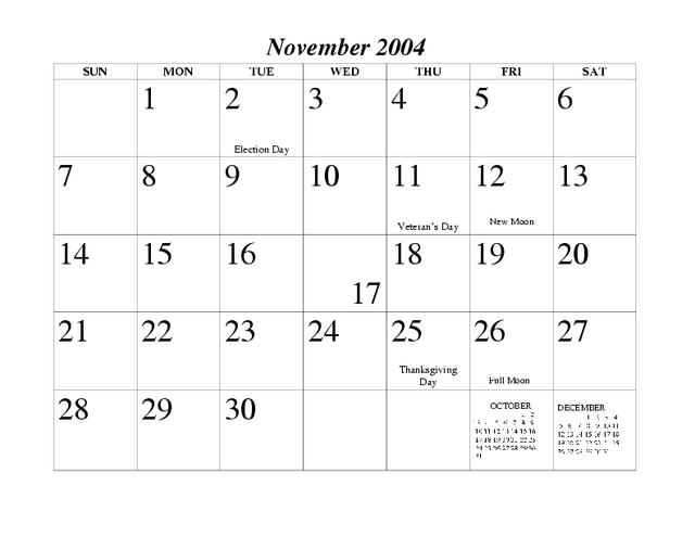 Календарь за ноябрь 2004